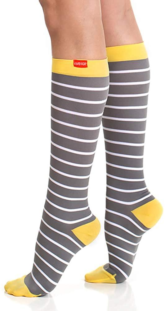 Vim Vigr Nylon 15-20 mmHg Graduated Compression Socks for Women and Men