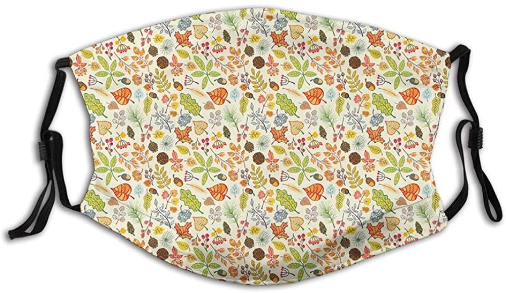 Washable Breathable Shield,Autumn Maple Leaves Berries Branches Spruce Acorns Seasonal Greenland Botany
