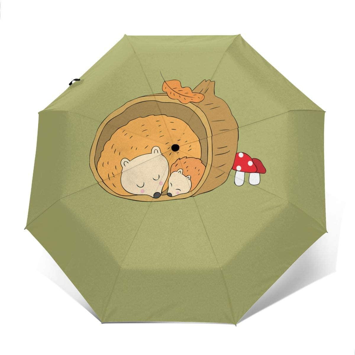 Hedgehogs Sleeping Windproof Automatic Folding Umbrella Tri-fold Umbrella