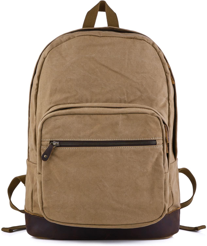 Gootium Canvas Backpack with Leather Trim, Unisex College Rucksack, Coffee