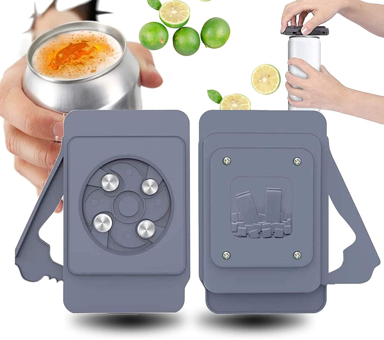 Topless Can Opener Screw Cap Jar Multifunctional Bottle Opener- Beverage Cans Household Bar Tool (Black)
