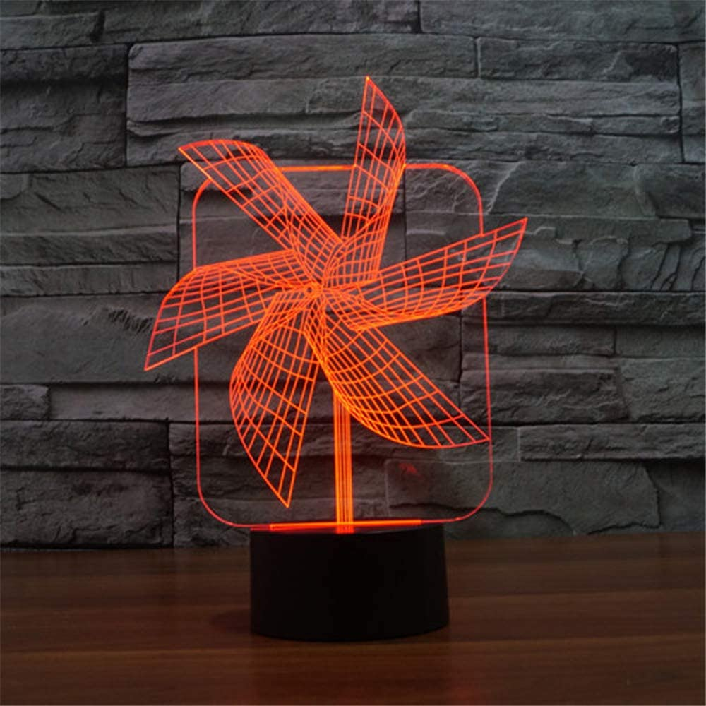 L2eD 3D Led Lamp Table Night Light 7 Color Change Light with Multicolored Touch Button Acrylic Power by USB Batteries Gifts Kids Paper Windmills