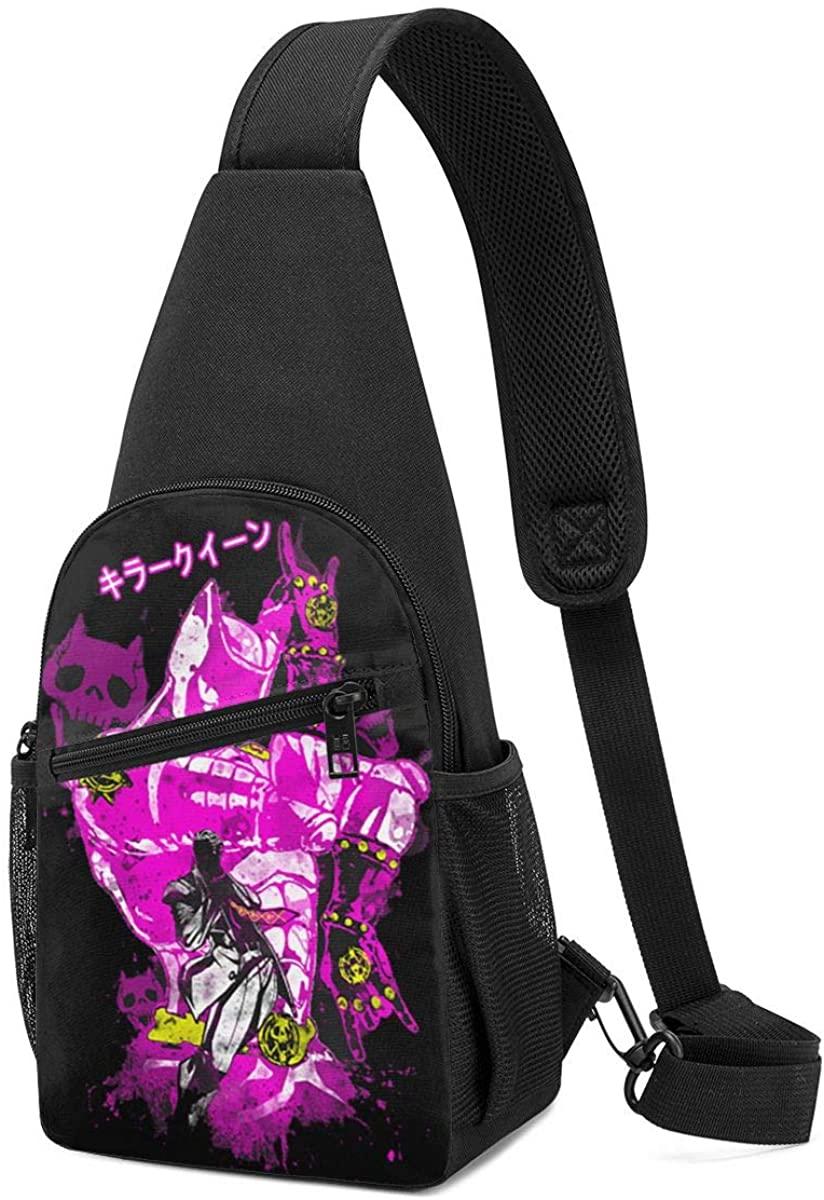 Mens Sling Bag Leather Chest Bag Shoulder Backpack Cross Body Travel,(Fairy Tail Logo)