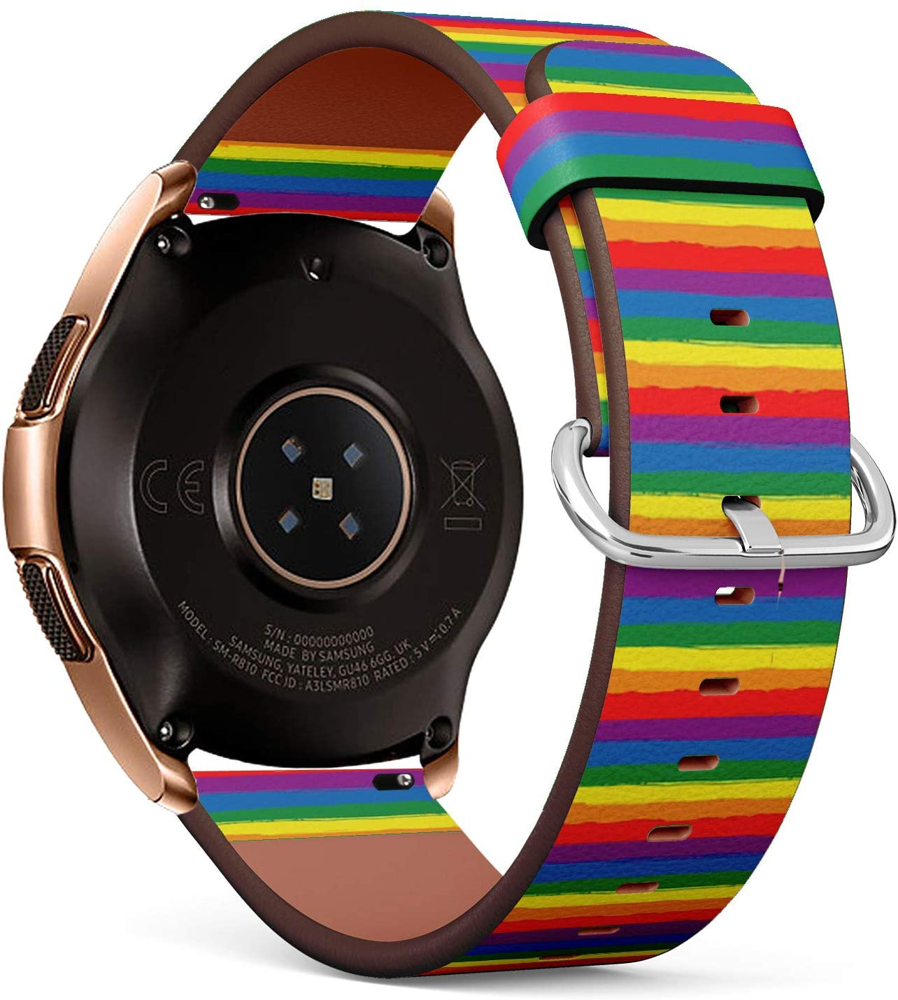 Compatible with Samsung Galaxy Watch (42mm) - Leather Watch Wrist Band Strap Bracelet with Quick-Release Pins (Rainbow Striped LGBT)