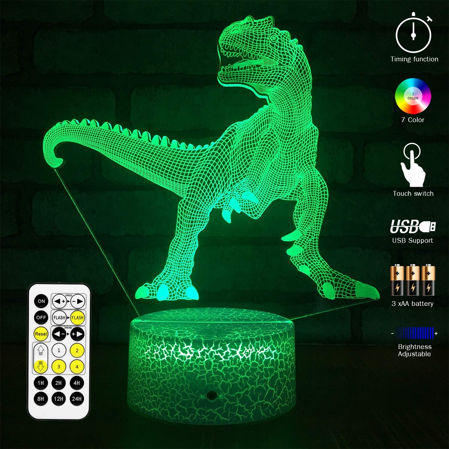 MH Zone T-REX 3D Night Light for Kids Night Lights Bedside Lamp 7 Colors with Timer & Remote Control & Smart Touch, The for Kids Girls Boys (T-rex 2)