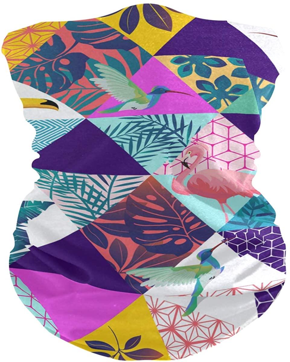 Unisex Balaclava Face Covers Scarf Novelty Bandana Masks Headband Tropical Palm Leaves Parrot Toucan Dust Wind Sun Magic Headwear for Men Women Boys Girls