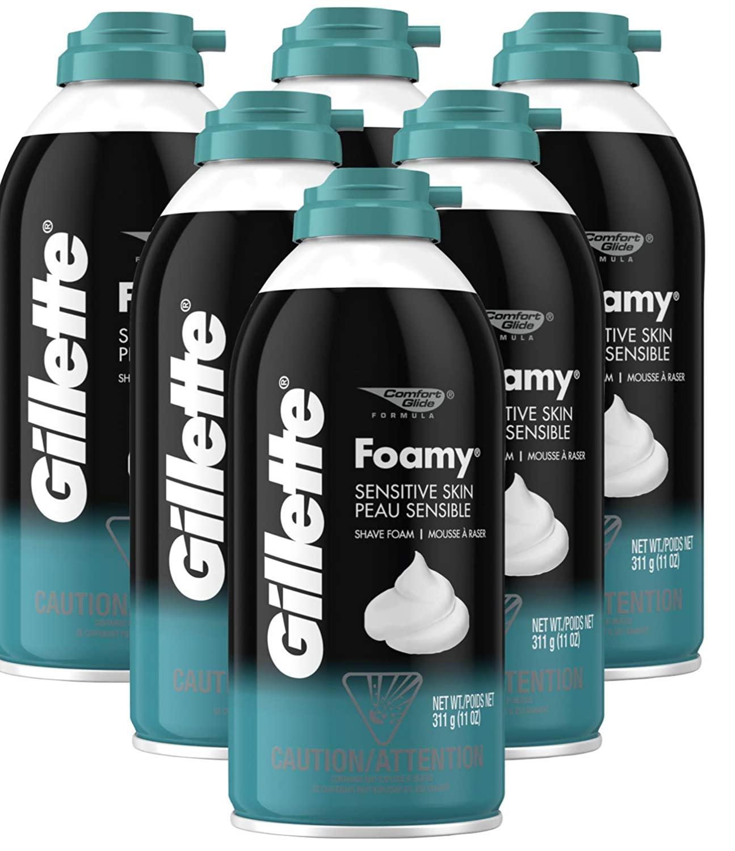 Gillette Foamy Shaving Cream, Sensitive Skin, 11 Ounce (Pack of 6)
