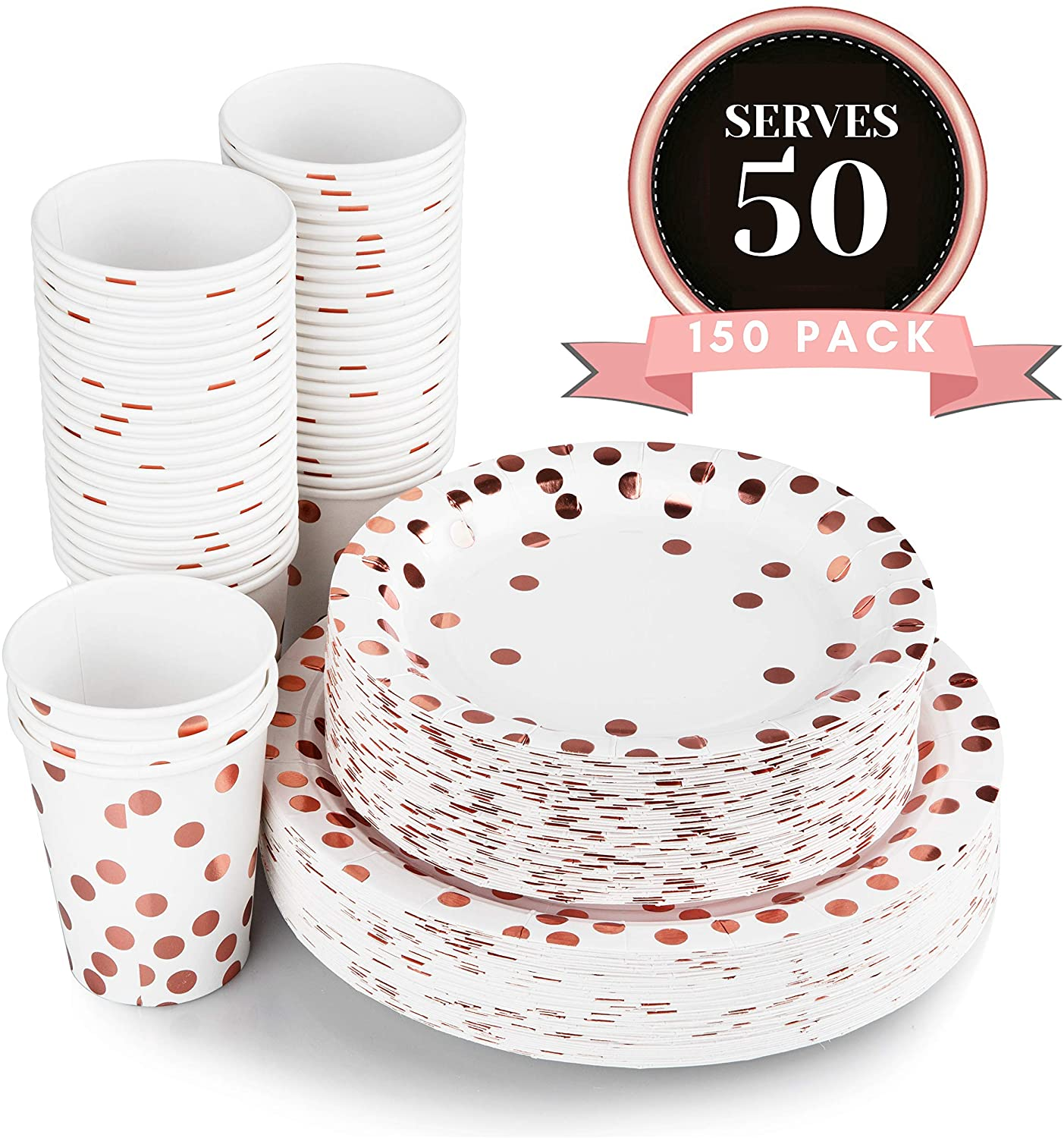 Luxomi Rose Gold Paper Plates - 150 Pc Plates Foil Design 50 Dinner and 50 Dessert Plates and 50 Cups for Baby Shower Birthday Bridal Bachelorette Holiday Party Supplies