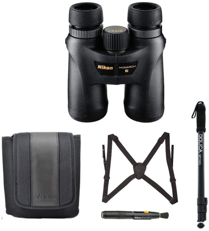 Nikon Monarch 7 10x42 Roof Prism ED ATB Waterproof/Fogproof Binoculars with 67-inch Lightweight Monopod, Case, Harness, Nikon Lens Pen – Advanced Bundle (5 Items)