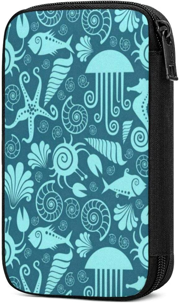 Travel Cable Organizer Underwater Sea Horse Jellyfish Turquoise Universal Electronics Accessories Storage Bag for Cord, Earphone, USB Flash Drive, Memory Card and More, Lightweight and Compact