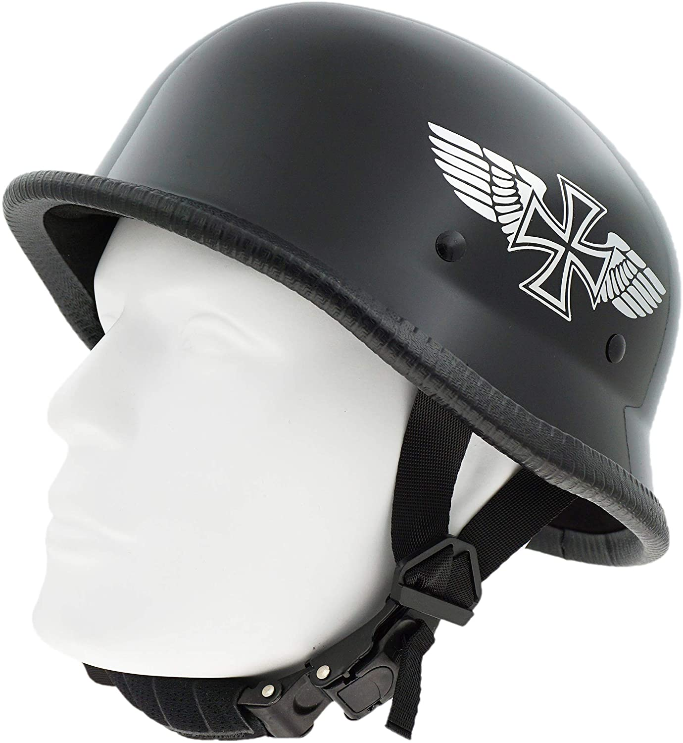 Hot Rides Classic Costume Carnival Skate Scooter Helmet Novelty German Gloss Black with SilverFlying Cross OSFM