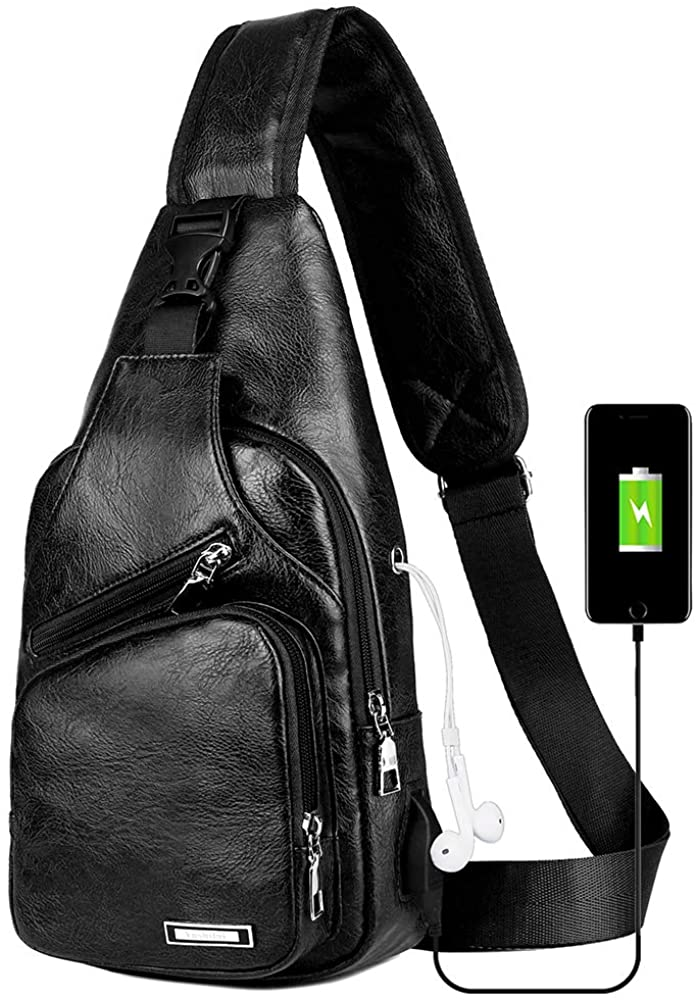 Peicees Leather Sling Bag w/USB Charge Chest Crossbody Backpack Daypack for Men