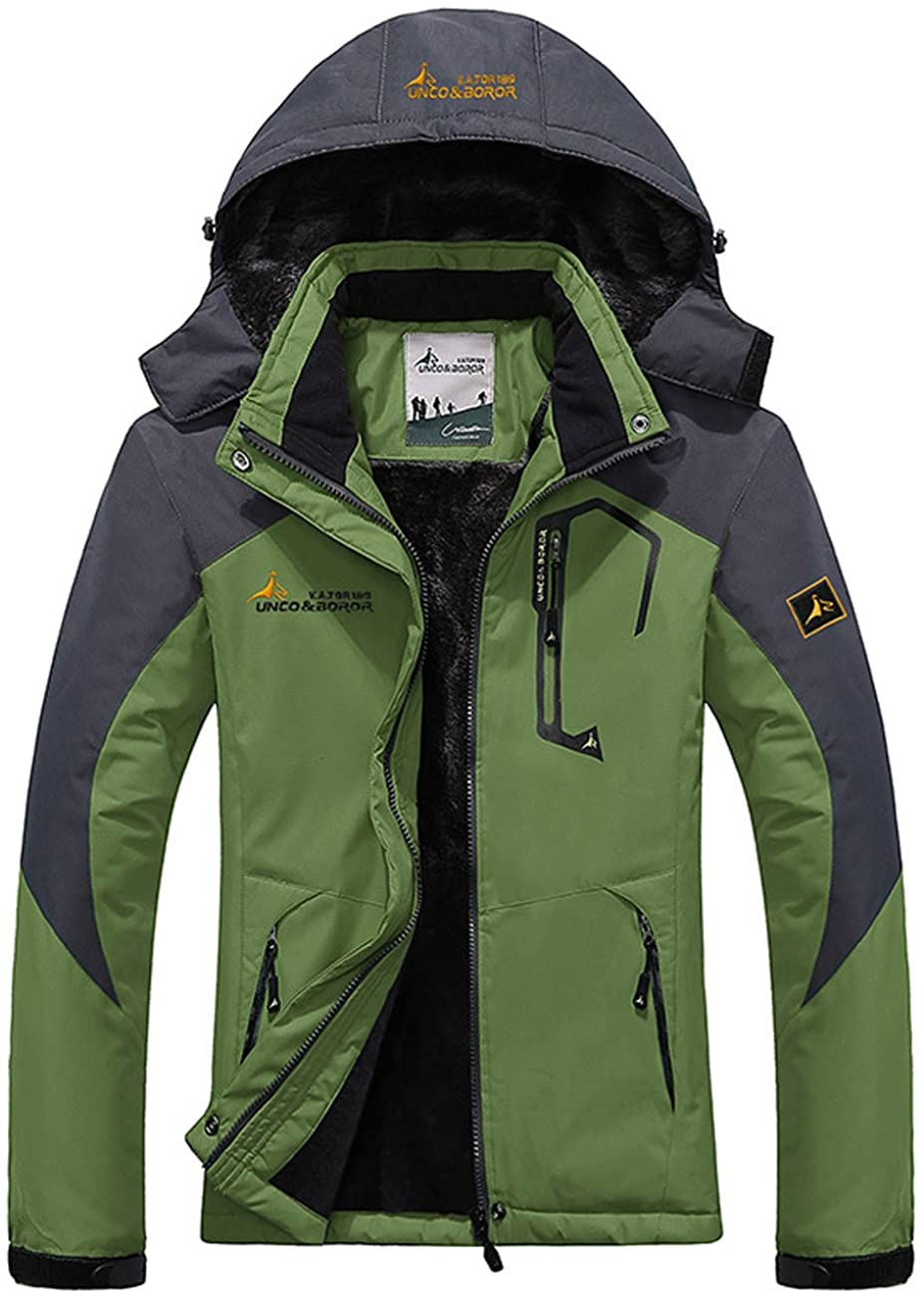 Women's Warm Waterproof Ski Jacket, Fleece Lined Detachable Hood Winter Coat Outdoor Windproof Parka
