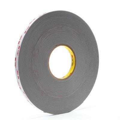 3M VHB 4941 Gray Foam Bonding Tape - 1/2 in Width x 45 mil Thick - 64886 [PRICE is per ROLL]