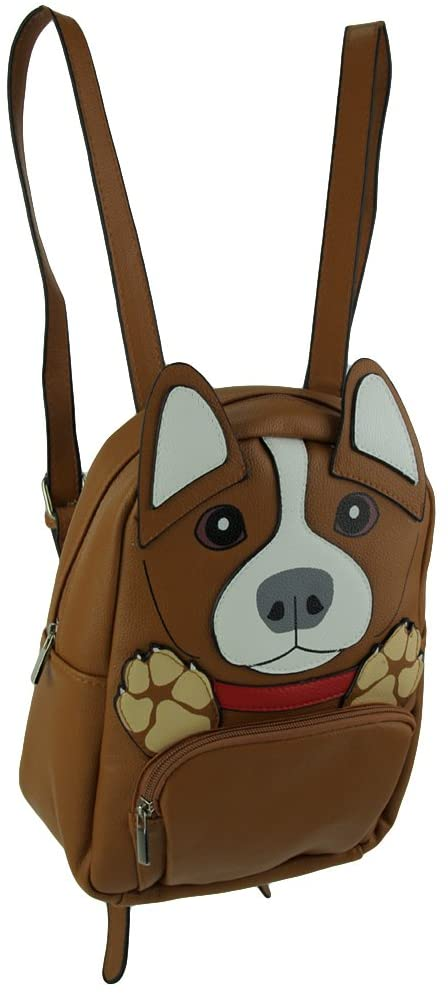 Sleepyville Critters Brown Vinyl Corgi Dog Backpack Small