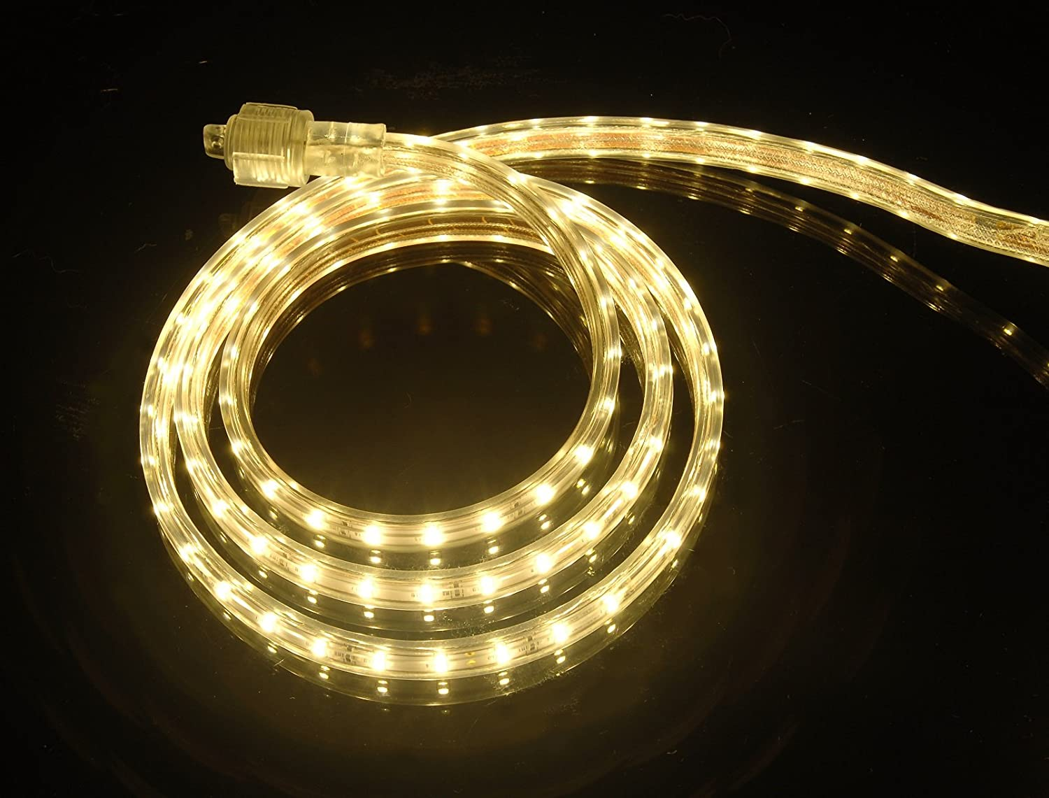 CBConcept UL Listed, 40 Feet, 4300 Lumen, 3000K Warm White, Dimmable, 110-120V AC Flexible Flat LED Strip Rope Light, 720 Units 3528 SMD LEDs, Indoor Outdoor Use, Accessories Included, Ready to use