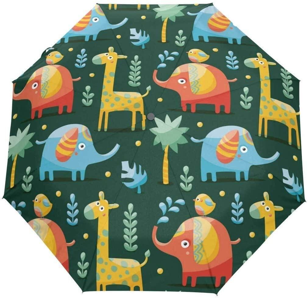 Automatic Umbrellas Geometrical Animal Giraffe Elephant Anti-Slip Windproof Compact Rain Umbrella for Women Men