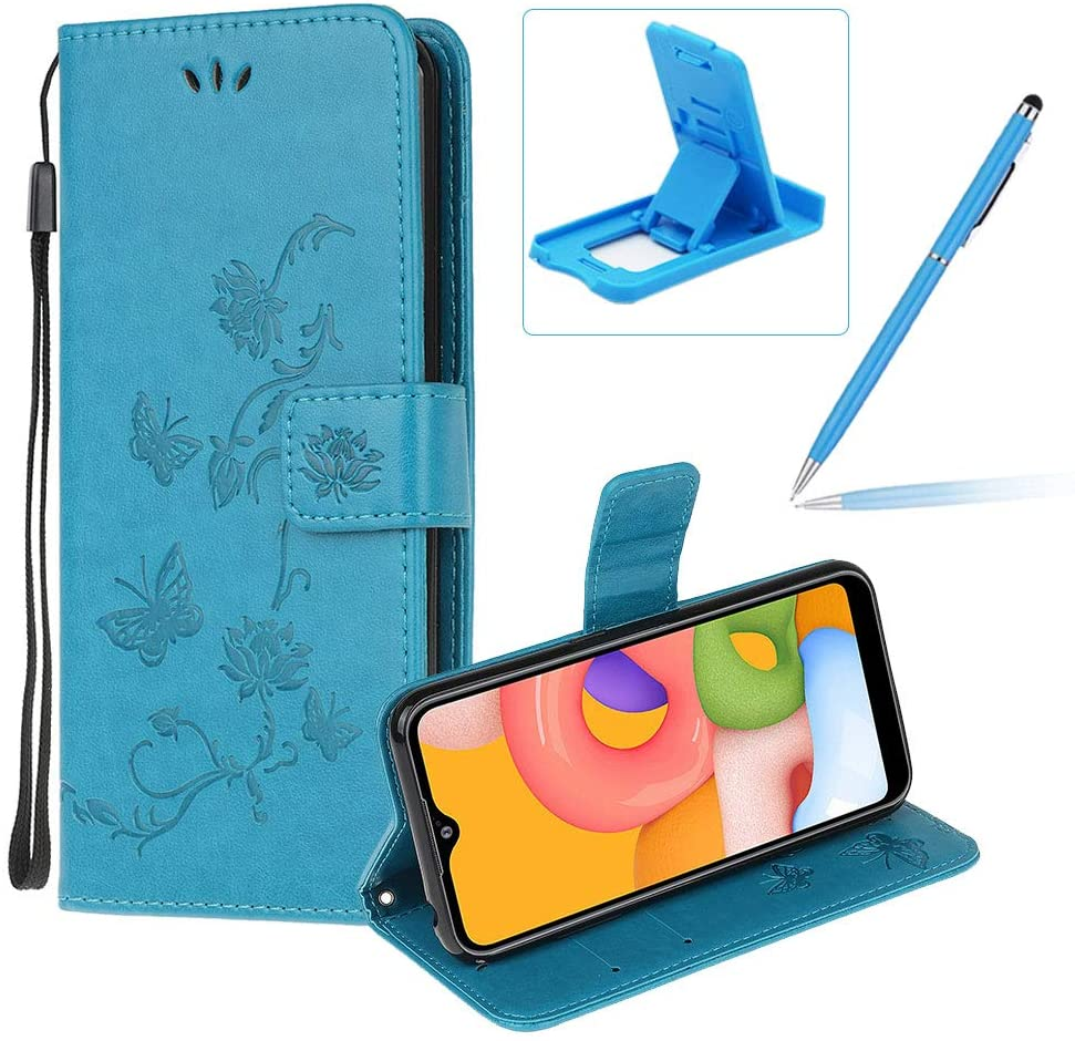 Strap Leather Case for Samsung Galaxy A01,Blue Wallet Leather Cover for Samsung Galaxy A01,Herzzer Classic Pretty Butterfly Lotus Drawing Embossed Magnetic Stand Card Holders Case