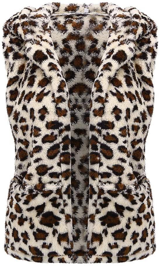 Viviplus Women's Sleeveless Leopard Print Vest, Winter Warm Waistcoat Fashion Casual Faux Fur Blouse Tops Pockets Wool Pellet Outwear
