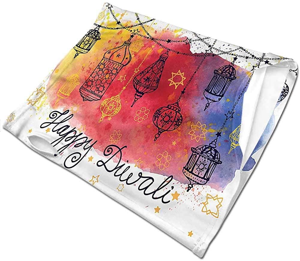 Hair Scarf Diwali,Watercolor Sketch Pattern Sunscreen Bandana