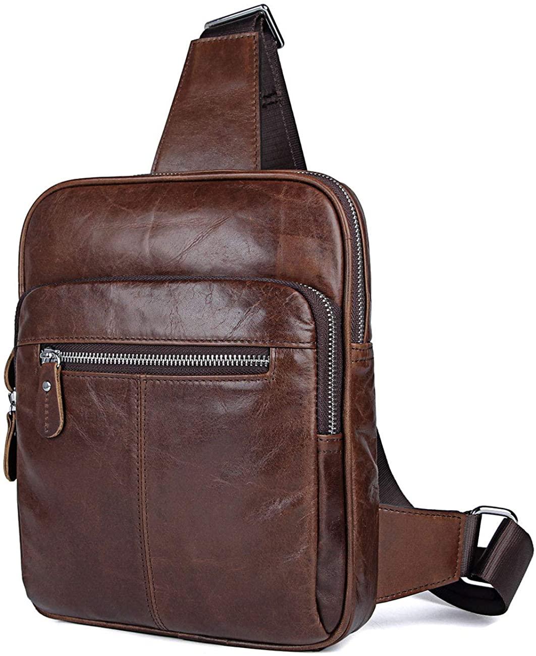 Leather Sling Backpack   Genuine Cowhide Leather Sling Crossbody Shoulder Bag for Men and Women   Dark Brown