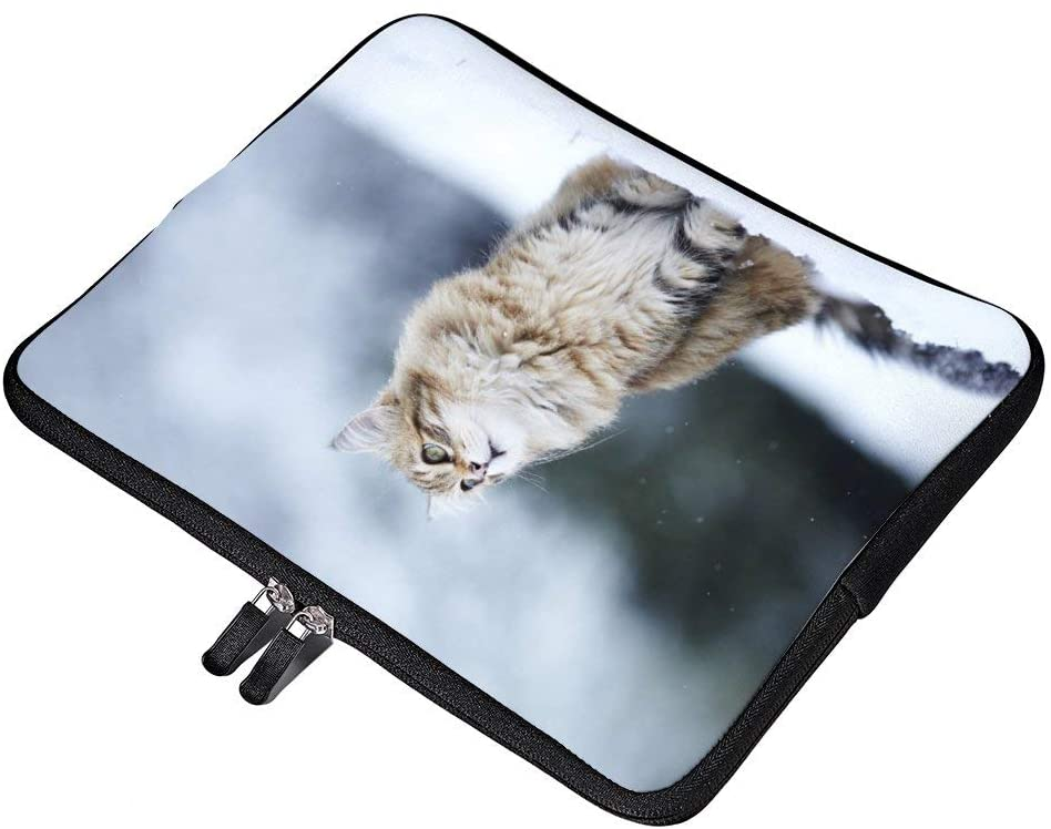 Cat Snow Eyes Fluffy Neoprene 12 Inch Laptop Sleeve Case Protective Cover Carrying Bag for 9.7