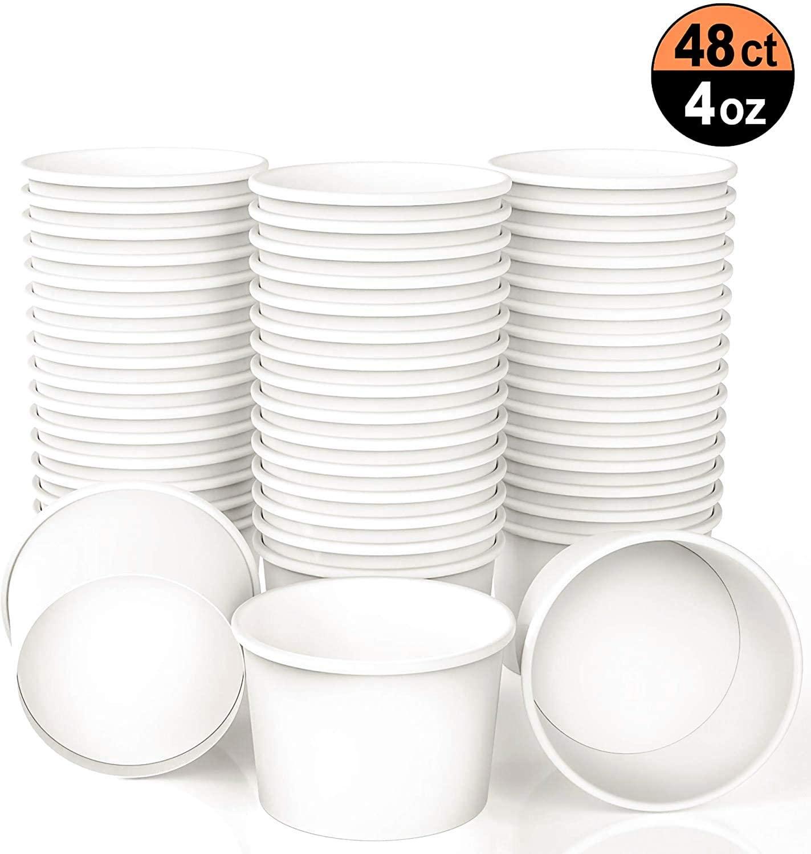 Ice Cream Paper Cups 4 oz Frozen Yogurt Cup White Dessert Bowls