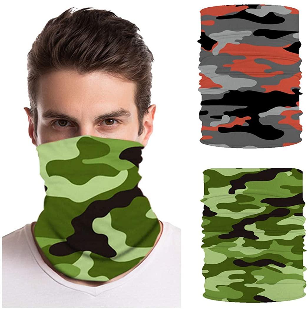 Fstrend 2Pcs Unisex Outdoor Face Mask Neck Gaiter Sports Seamless Tube Bandana Headwear Motorcycle Face Scarf Bandana for Women Men