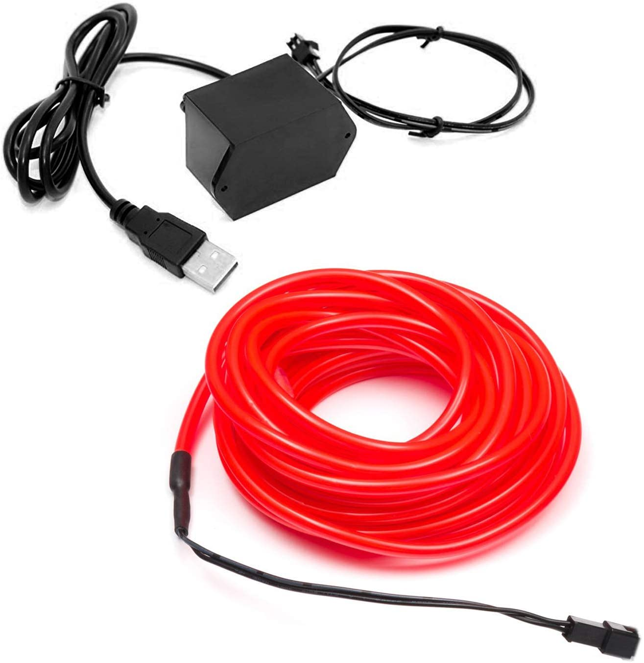 3m/9.8ft Extra Large 5.0 mm Thick - Red Neon LED Light Glow EL Wire - Powered by USB Port - Craft Neon Wire String Light for DIY Project Costume Accessories Cosplay