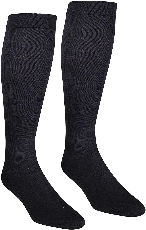NuVein Men's Compression Socks Dress Trouser Style Over Calf Knee High, Black, Large