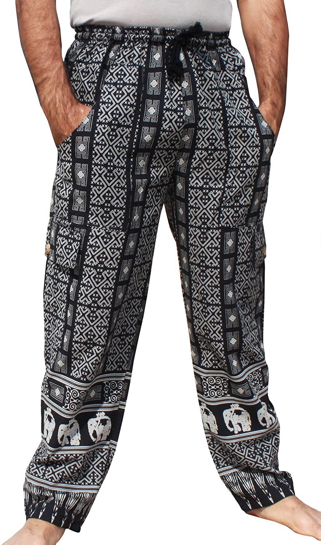 RaanPahMuang Summer Cotton Art Print Cargo Pants with Side Leg Camo Pockets