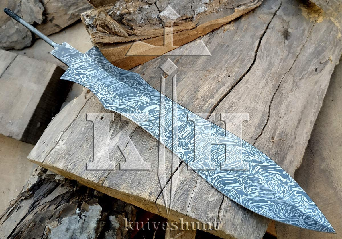 SK-Knives Damascus Knife Custom Handmade - 15 Inches Damascus Steel Blank Blade Fire Pattern