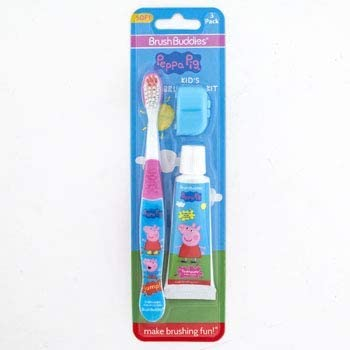 Toothbrush 3PC Set Peppa Pig Brush,Cap,Toothpaste CARDED,