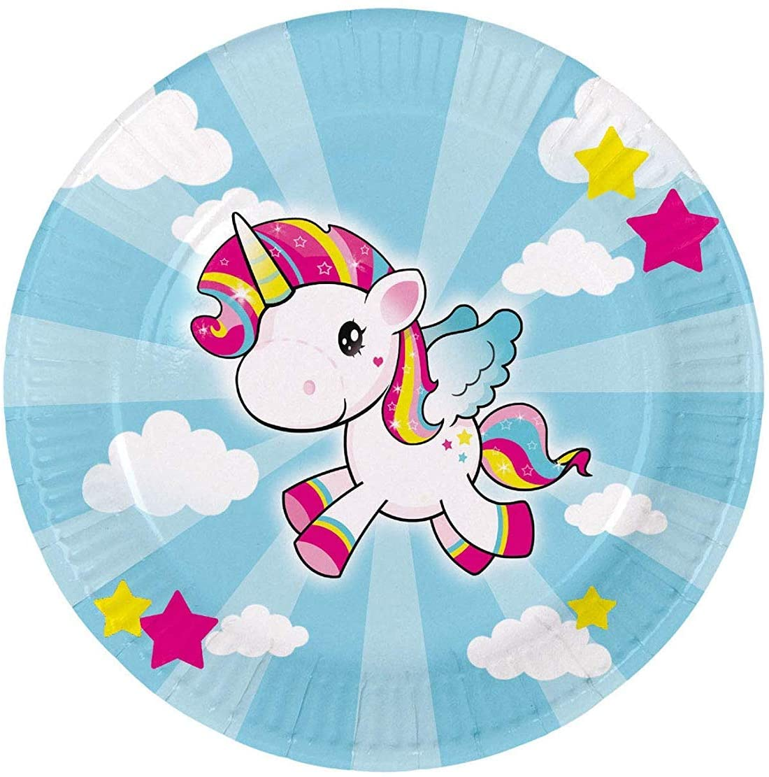 Folat 65040 Unicorn Disposable Plates 23 cm - 8 pieces, Multi Colours
