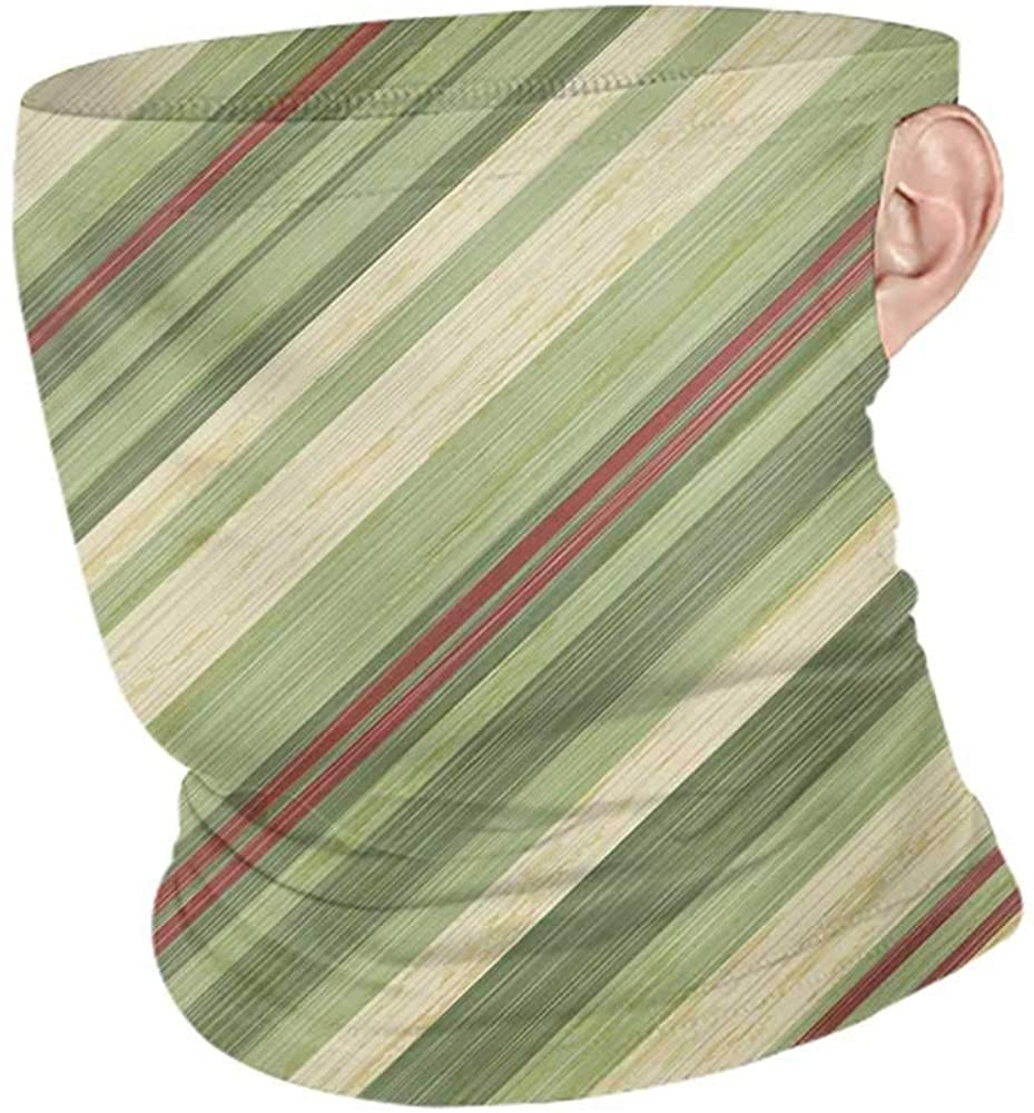 Headwrap Summer Vintage Red Green Diagonal Stripes on Old Aged Design Grungy Background Abstract Print,Sunscreen Bandana Green Red Cream 10 x 12 Inch