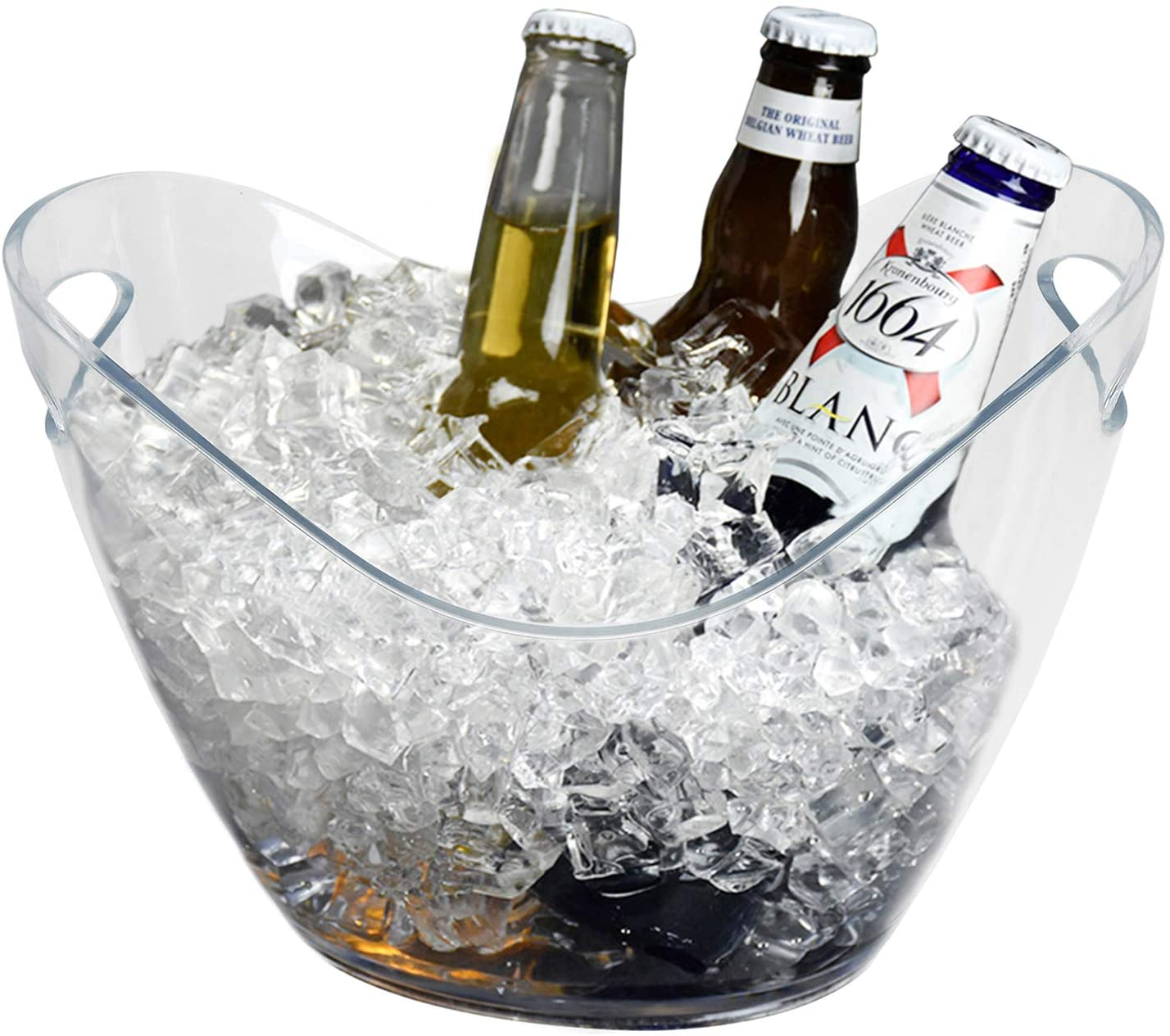 Yesland Ice Bucket Clear Plastic 3.5 Liter - Storage Tub - Perfect for Wine, Champagne or Beer Bottles