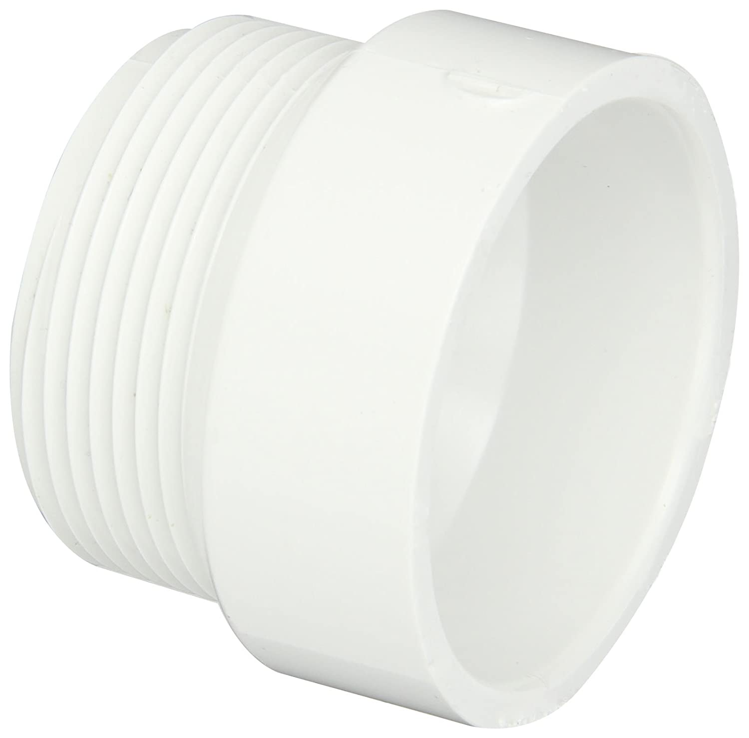 Spears P104R Series PVC DWV Pipe Fitting, Trap Adapter with Plastic Nut & Washer, 1-1/2
