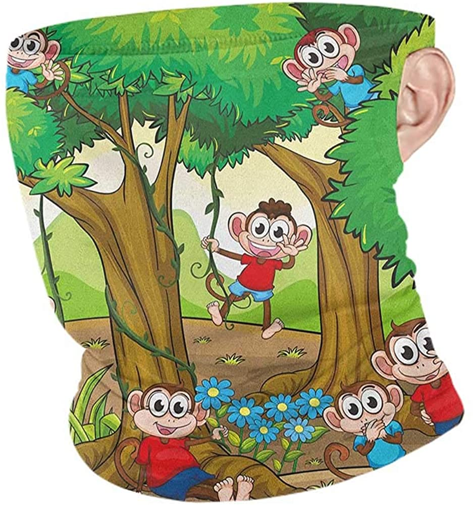 Face Cover Summer Nursery Children Kid Apes Monkeys Playing in Exotic Forest with Big Trees and Daisy Blooms,Unisex Seamless Rave Bandana Multicolor 10 x 12 Inch