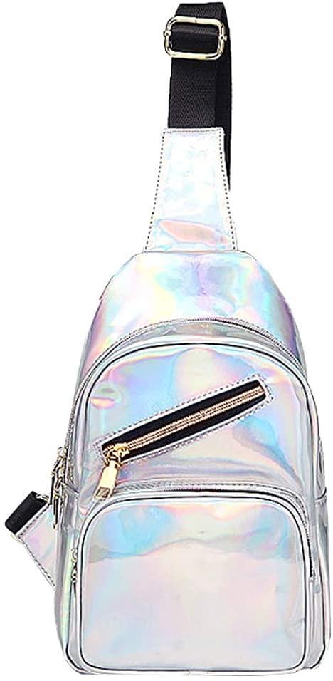 Felice Women Leather Sling Backpack Silver Laser Hiking Shopping Chest Pack Crossbody Bag