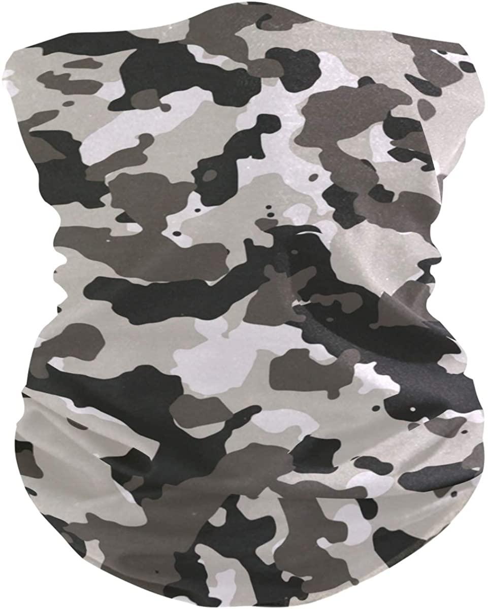 Unisex Balaclava Face Covers Scarf Novelty Bandana Masks Headband Gray Brown Camouflage Dust Wind Sun Magic Headwear for Men Women Boys Girls