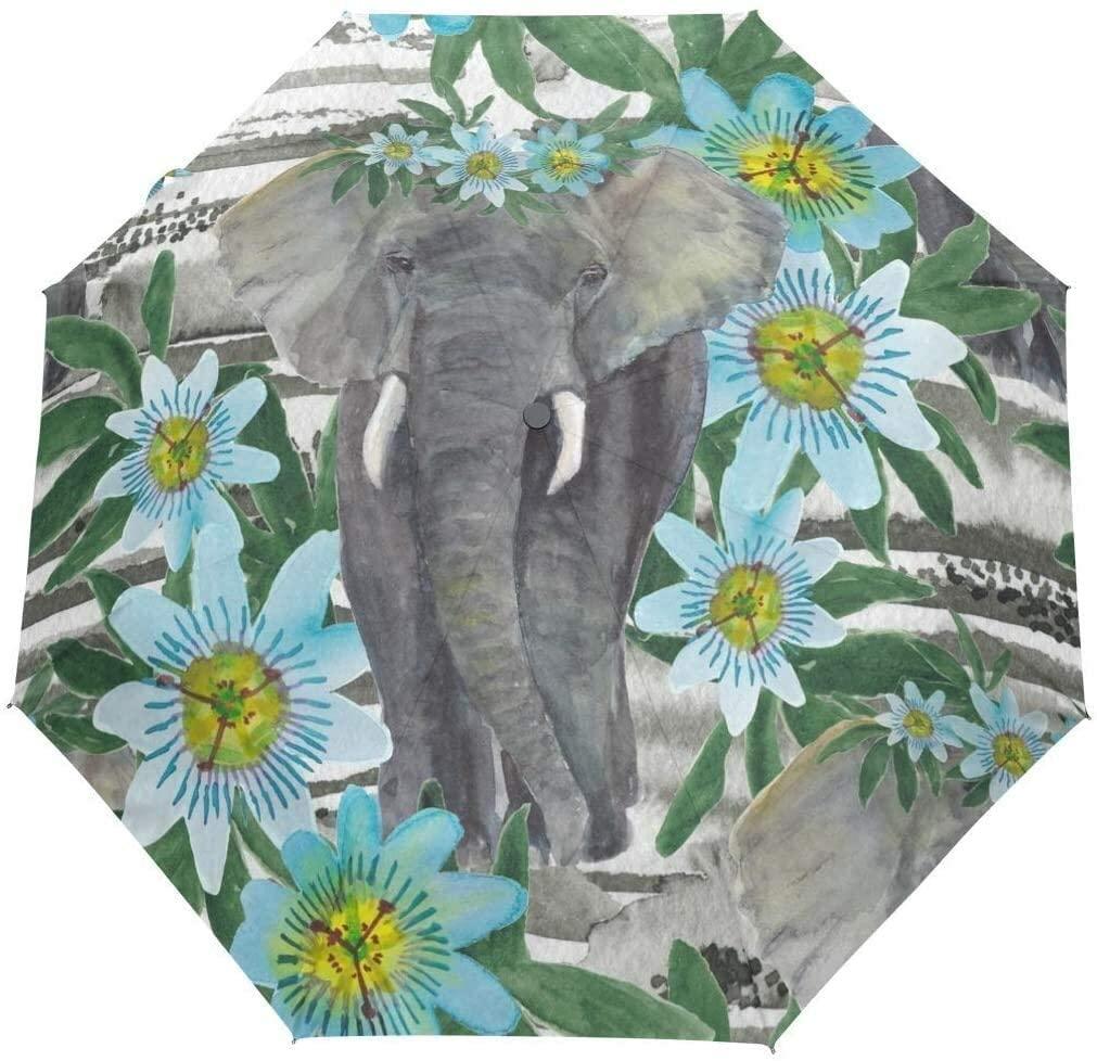 Automatic Umbrellas Tropical Floral Animal Elephant Anti-Slip Windproof Compact Rain Umbrella for Women Men