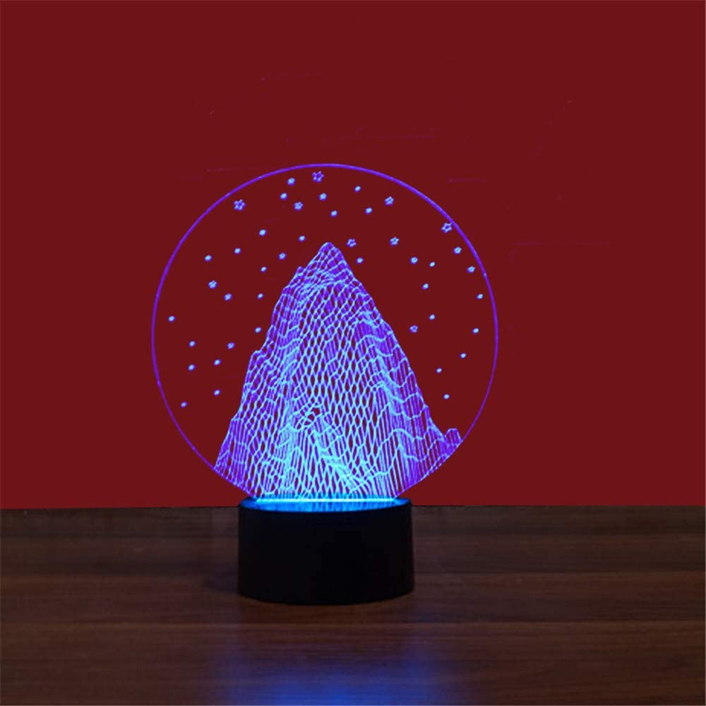 Led8N 3D LED Optical Illusion Lamps Night Light,7 Colour Changing LED Bedside Lamps for Kids with Acrylic Flat,ABS Plastic Base,USB Charger Snow Mountain