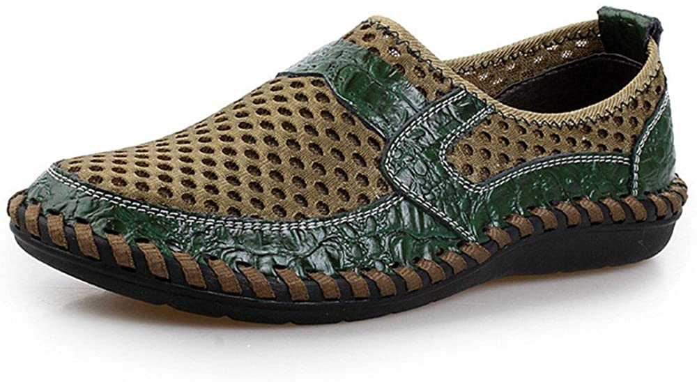ChicWind Slip-On Loafers Walking Shoes Mesh Casual Water Shoes Dark Green