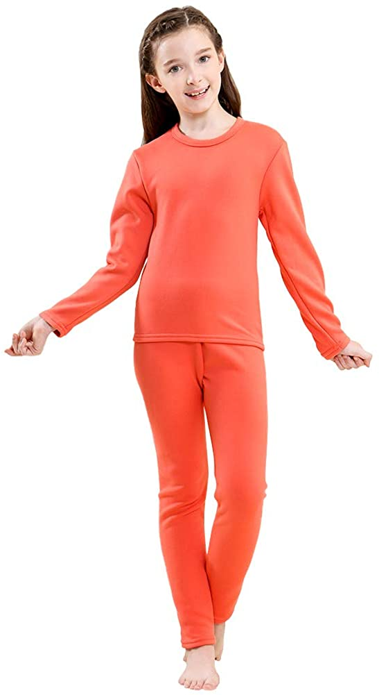 Tesuwel Girls Base Layer Thermal Underwear Long John Set Fleece Line Shirts and Pants 2 Pcs