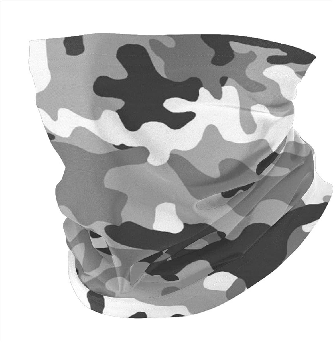 Riiat Black White Gray Camo Urban Camouflage Army Neck Gaiter Bandana Tube Face Mask Headwear Headband Magic Scarf Balaclava Sweatband UV Sun Anti-Wind Dust For Outdoor Sports