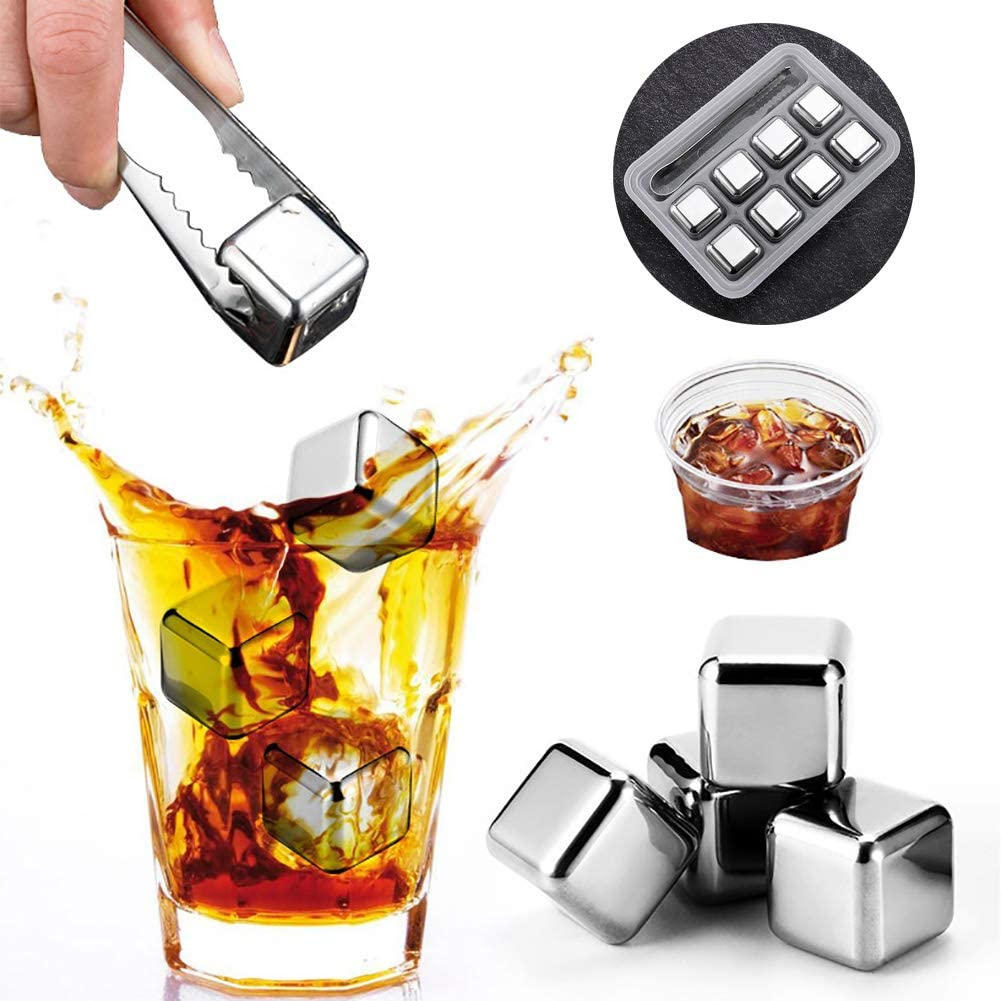 Jklnm Whiskey Stones, Metal Cube Stainless Steel Ice Cubes Set of 8 Reusable Ice Cubes Your Drinks Without Diluting, It's Great Birthday Alcohol Gifts for Men