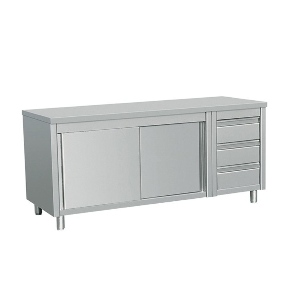 EQ Kitchen Line Stainless Steel Commercial Prep Work Table Sliding Door Storage Cabinet and 3 Drawers on Left 80