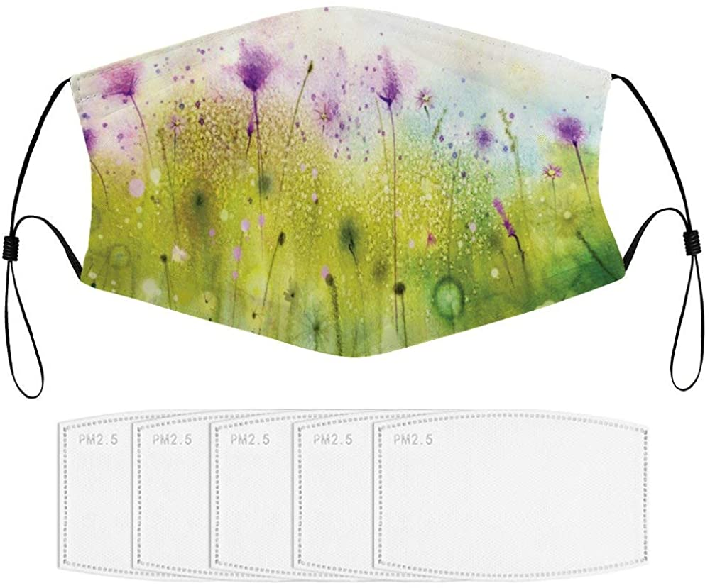 Roupaze Child Face Mask Watercolor Abstract Blurred View of Purple Cosmos Flowers Blooming Meadow Purple Windproof Face Mouth Cover Balaclavas for Kids with 5 Filter