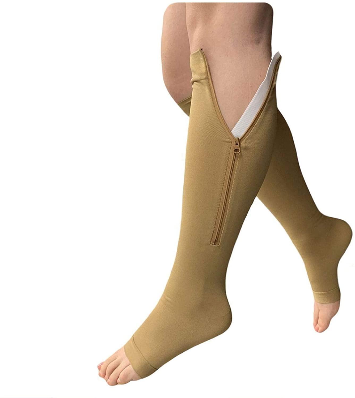 Presadee Open Toe Medical Grade 20-30 mmHg Zipper Compression Socks Circulation Swelling Veins Support FDA Cleared (X-Large, Beige)