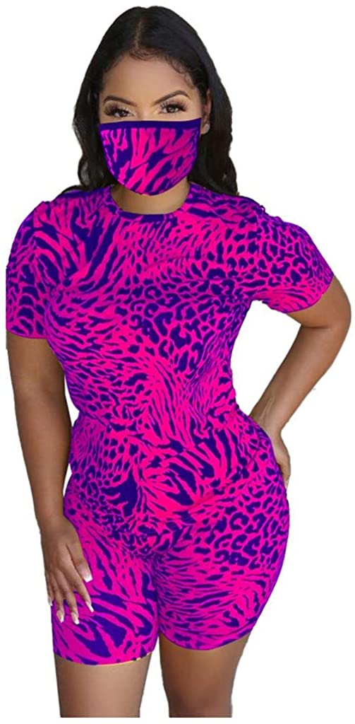 LATINDAY Womens 3 Piece Sports Suit Set Leopard Printed Tops Shorts Loungewear Clubwear Tracksuits